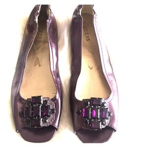 SZ 9M Purple Jeweled Leather Guess Flats